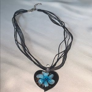 Stunning Ribbon and Glass Floral Pendant Necklace
